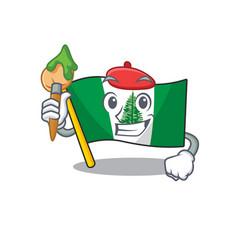Cartoon character flag norfolk island artist vector