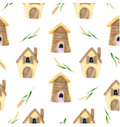 Cartoon house seamless pattern in watercolor vector