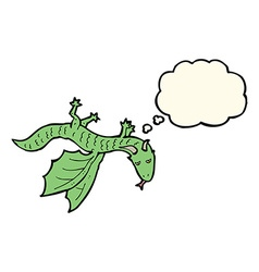 Cartoon little dragon with thought bubble vector
