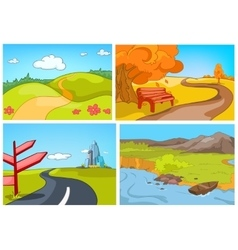 cartoon set of summer autumn backgrounds vector image