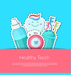 cartoon teeth hygiene stickers vector image