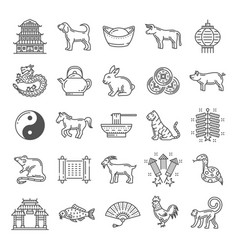chinese culture line art icons with zodiac animals vector image