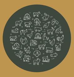 Circular set farm animals that are great vector