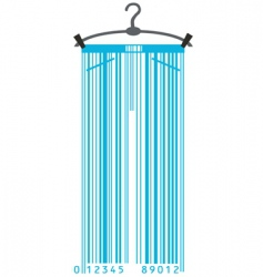 clothes hanger and barcode vector image