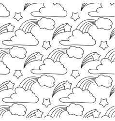 clouds stars rainbow seamless pattern cartoon vector image