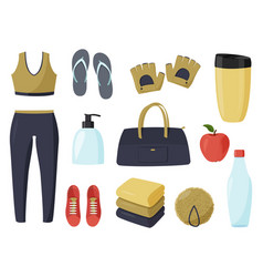 Collection things to visit gym stort set vector