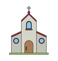 Color image church building with cross vector