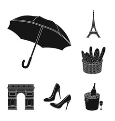 Country france black icons in set collection for vector