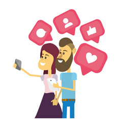 couple on social networks vector image