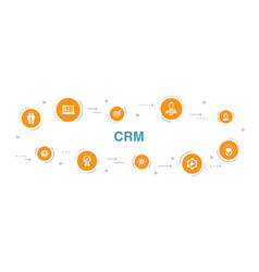Crm infographic 10 steps circle designcustomer vector