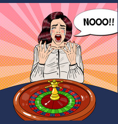 crying woman behind roulette table vector image vector image