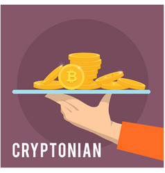 Cryptonian concept hand hold golden coin vector