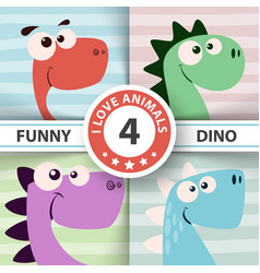 cute dino four items vector image