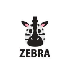 Cute zebra flat logo icon vector
