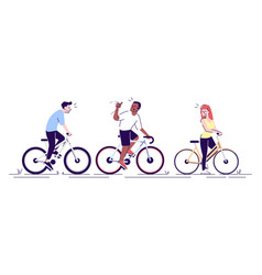 Cyclists training together flat friends outdoor vector
