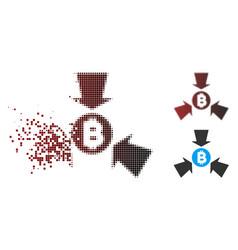 Dispersed pixel halftone bitcoin collect arrows vector