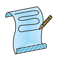 Doodle crayon pencil writing in the sheet paper vector