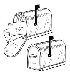 Doodle mail mailbox letter vector