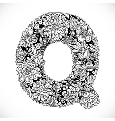 Doodles font from ornamental flowers - letter Q vector