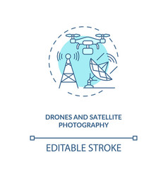 Drones and satellite photography concept icon vector