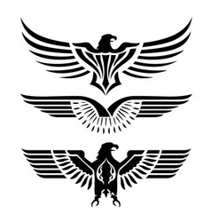 Eagle head wing fly logo black icon tattoo vector