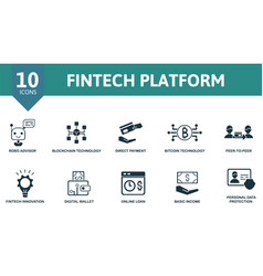 Fintech platform icon set collection contain vector