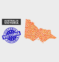 flame mosaic australian victoria map and scratched vector image
