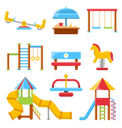 flat of kids playground with various vector image