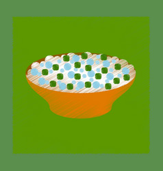 Flat shading style icon salad plate vector