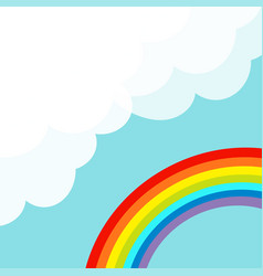 Fluffy cloud in corner cloudshape rainbow in the vector
