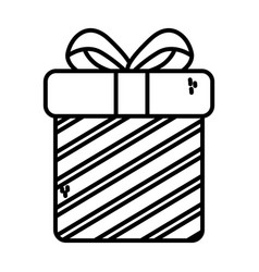 gift box surprise merry christmas thick line vector image