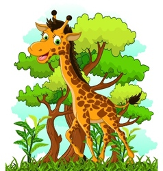 giraffe cartoon on forest background vector image