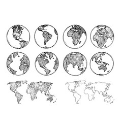 Globe sketch hand drawn earth planet with vector