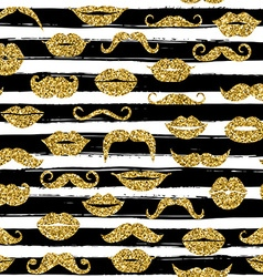 Gold moustache seamless pattern on white bacground vector