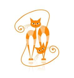 Graceful orange striped cat for your design vector image