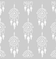 grunge dreamcatcher with feathers and branches vector image