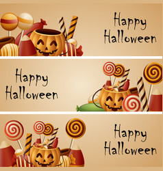 Halloween banner pumpkins basket and collected can vector