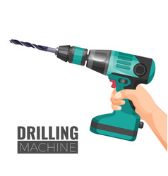 Hand drill or drilling machine fitted cutting or vector