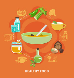 Healthy eating composition vector