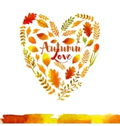 heart watercolor autumn leaves vector image