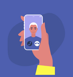 incoming video call a portrait a young asian vector image