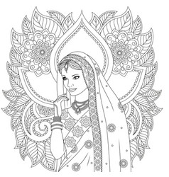 Indian girl coloring pages vector