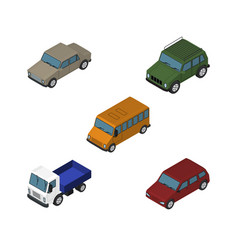 isometric car set of autobus car armored and vector image