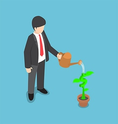 Isometric usinessman watering dollar flower plant vector image