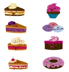kawaii candy and cakes vector image