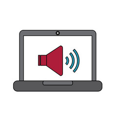 laptop with speaker sound on screen volume design vector image