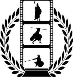 laurel wreath and film with warrior vector image