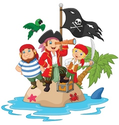 Little kids trapped in areas of the island treasur vector image