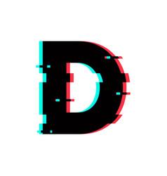 logo letter d glitch distortion vector image