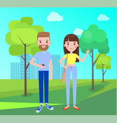 Man and woman everyday apparel in park vector